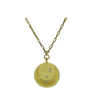 Charm: Moon & Star Medallion on 18kt Gold Fill Necklace (NGCP4065) Necklaces athenadesigns