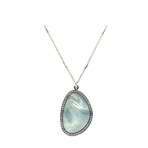 Mother of Pearl 'Halo' Necklace on Sterling Silver (NCS385) Necklaces athenadesigns