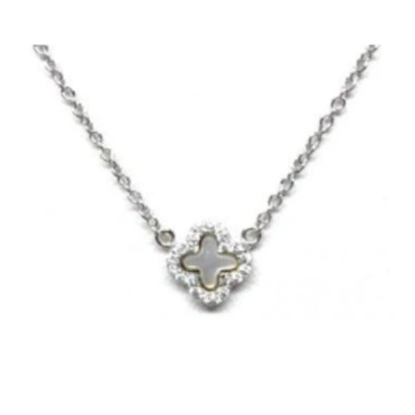 Small Mother of Pearl Clover Necklace: Sterling Silver (NCS35MOPS) Necklaces athenadesigns
