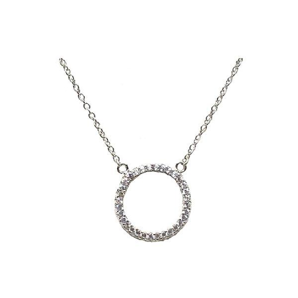 Micro Pave Open Circle: Gold Vermeil: (NC4650) Also Rose Gold Necklaces athenadesigns