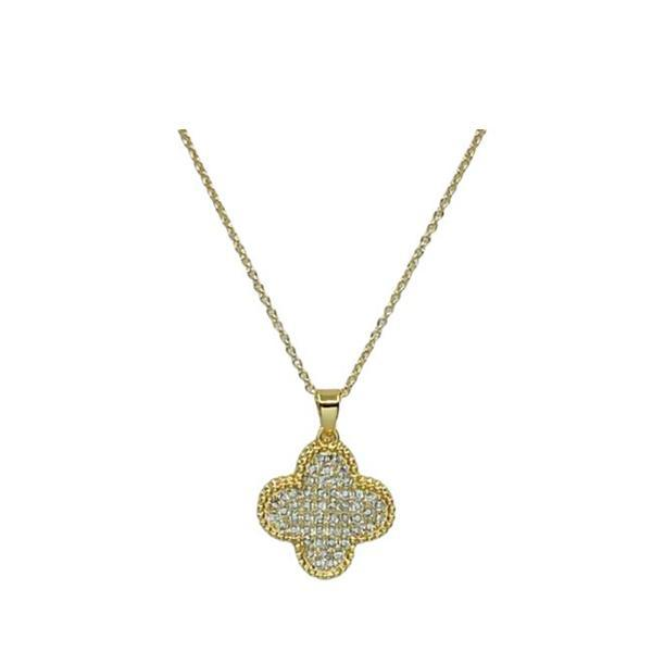 Pave Clover on Gold Fill Chain: (NCP48CLVR) Necklaces athenadesigns