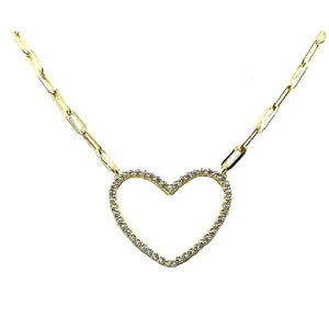 Heart: Open Pave on Link Chain: Gold Vermeil (NGCH485HRT) Necklaces athenadesigns