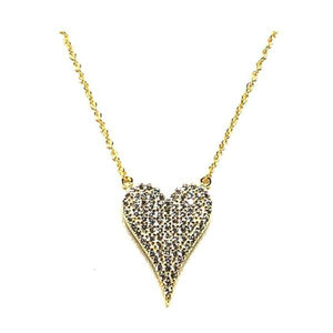 Micropave Heart Necklace: Gold Vermeil: Also Rose Gold Vermeil(NRGCP45HRT) Necklaces athenadesigns Gold- NGCP45HRT
