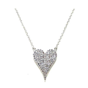 Micropave Heart Necklace: Sterling Silver (NCP45HRT) Necklaces athenadesigns