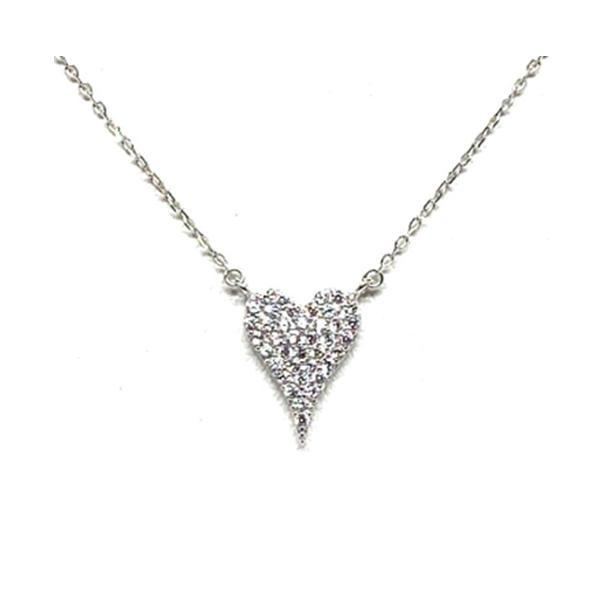 Small Heart Pave Necklace: Sterling Silver: (NSC45HRT/S) Necklaces athenadesigns