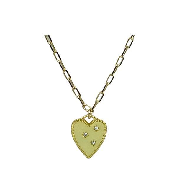 Heart: Pointy Gold Fill Heart With 3 Crystal Points (NGCP405HRT) Necklaces athenadesigns