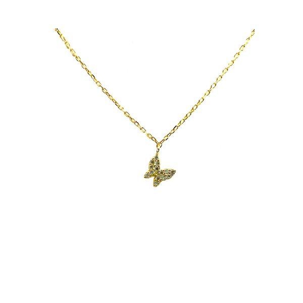 Micro Pave Small Butterfly Necklace: Gold Vermeil (NGCH45BFLY) Necklaces athenadesigns