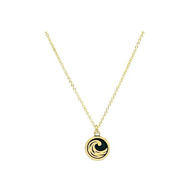 Elements: Water Symbol on Natural Bronze with Gold Fill Chain (NGCP46WTR) Necklaces athenadesigns