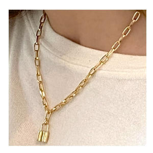 Link Gold Plated Necklace With Medium Lock Charm (PNCG40LCKM) Necklaces athenadesigns