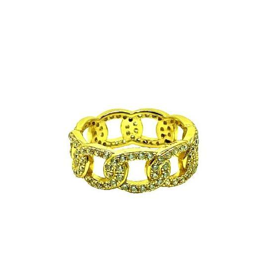 CZ Link Ring: Sizes 6-8: Gold Vermeil (RG545/_) Rings athenadesigns Size 6: RG545/6