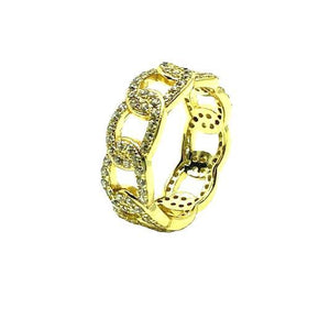 CZ Link Ring: Sizes 6-8: Gold Vermeil (RG545/_) Rings athenadesigns