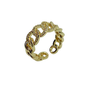 Pave Link Adjustable Ring; Gold Fill (RG4085) Rings athenadesigns