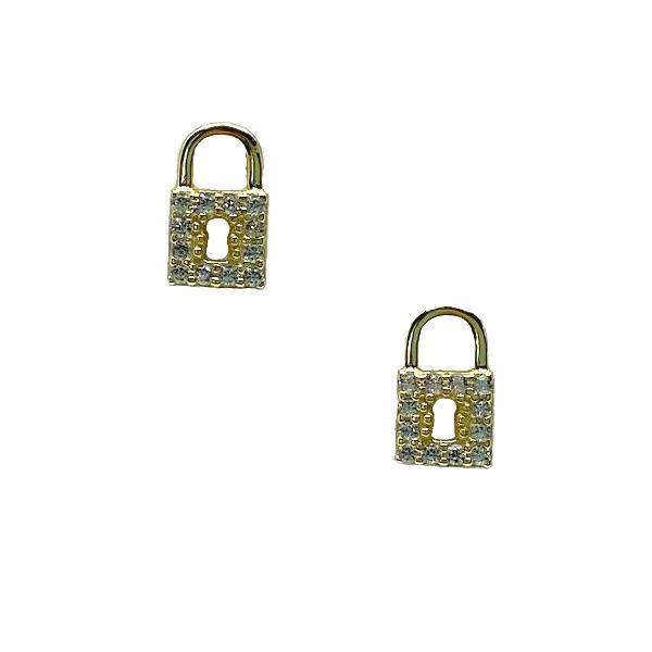 Lock: Micro Pave Studs: Gold Vermeil (EGP45LCK) Earrings athenadesigns