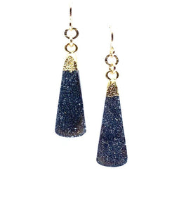 Long Druzy Teardrop with Gold Vermeil Earwire: Black Druzy (EGC794DZX) Earrings athenadesigns Default Title