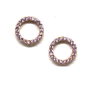 Stud Earring: Pave Crystal Circle Rose Gold (ERGP4605)Also Gold Earrings athenadesigns Rose Gold - ERGP4605