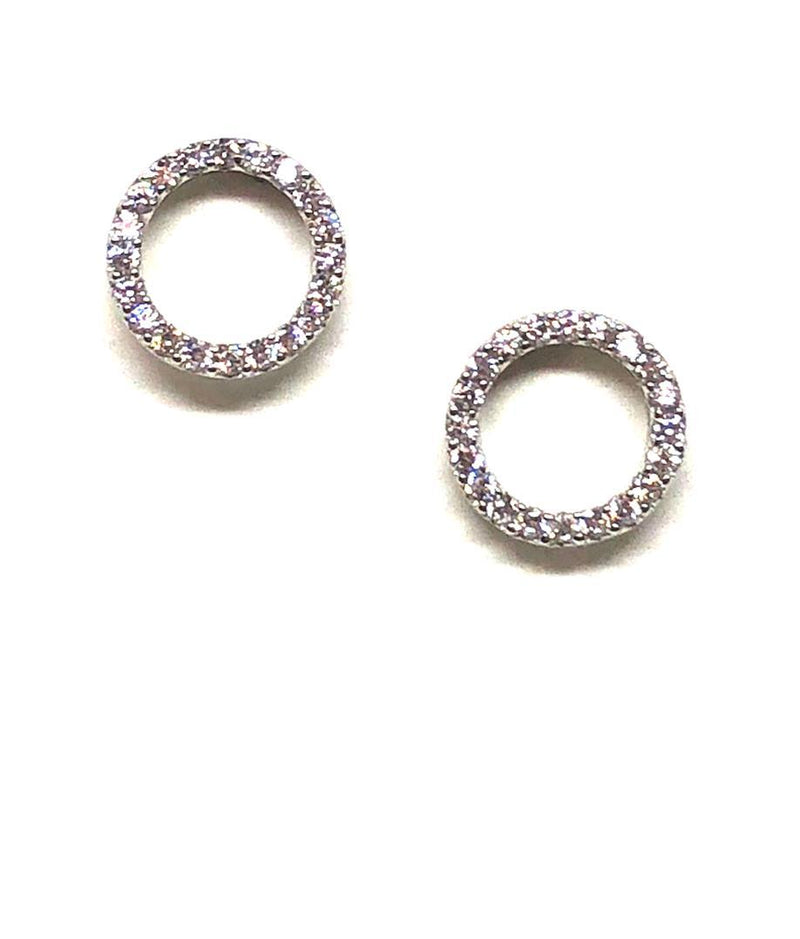 Stud Earring: Pave Crystal Circle Sterling Silver (EP4605) Earrings athenadesigns