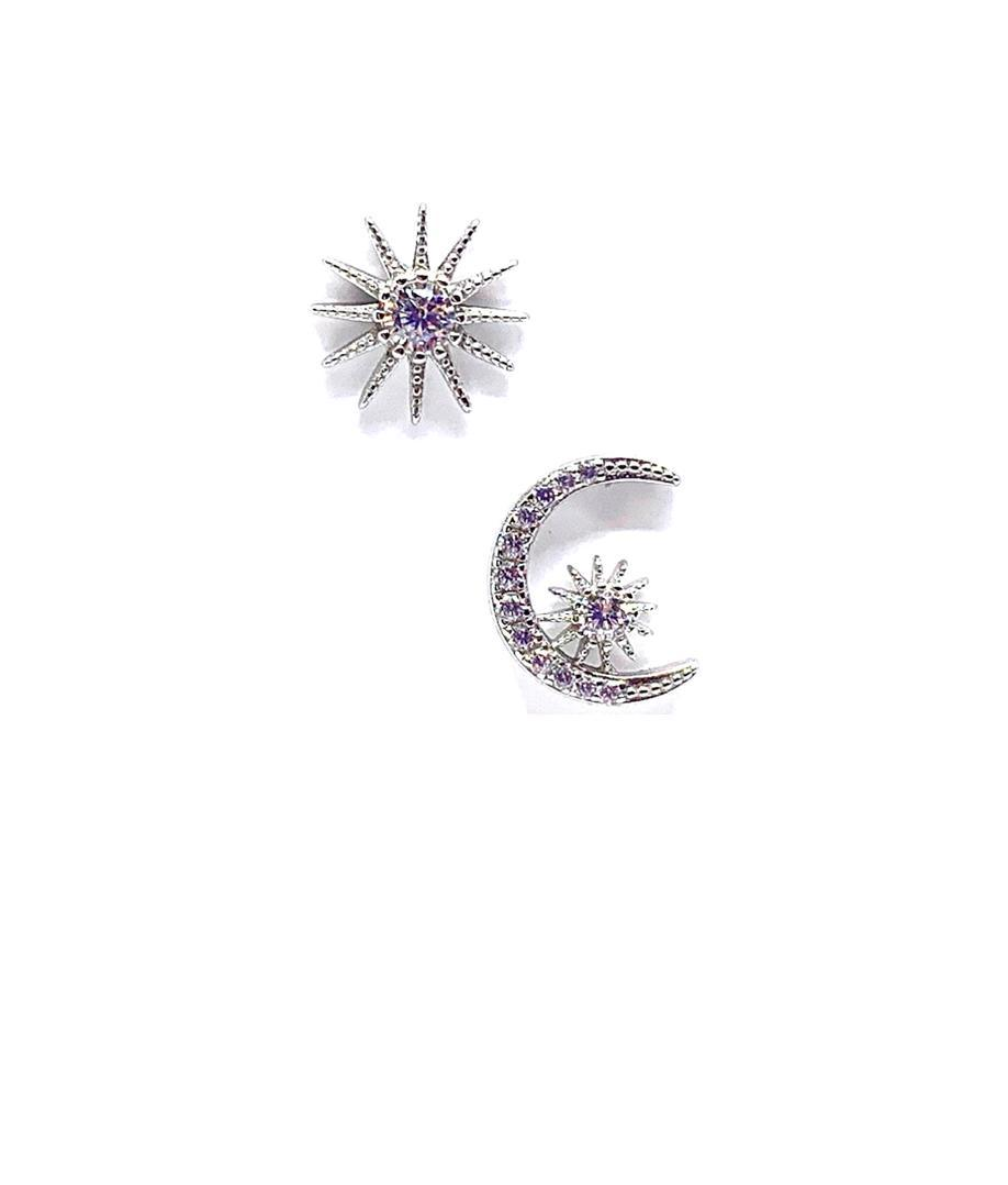 Sun and Moon CZ Stud Earrings: Sterling Silver (EP45SNMN) Earrings athenadesigns Default Title