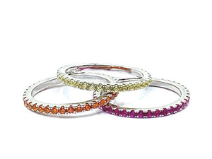 3 Stack Rainbow Light Colors Gold Vermeil Rings: (RG3/45RBL) Rings athenadesigns