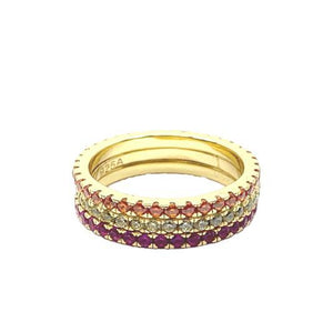 3 Stack Rainbow Light Colors Gold Vermeil Rings: (RG3/45RBL) Rings athenadesigns Size 6: RG3/45RBL/6