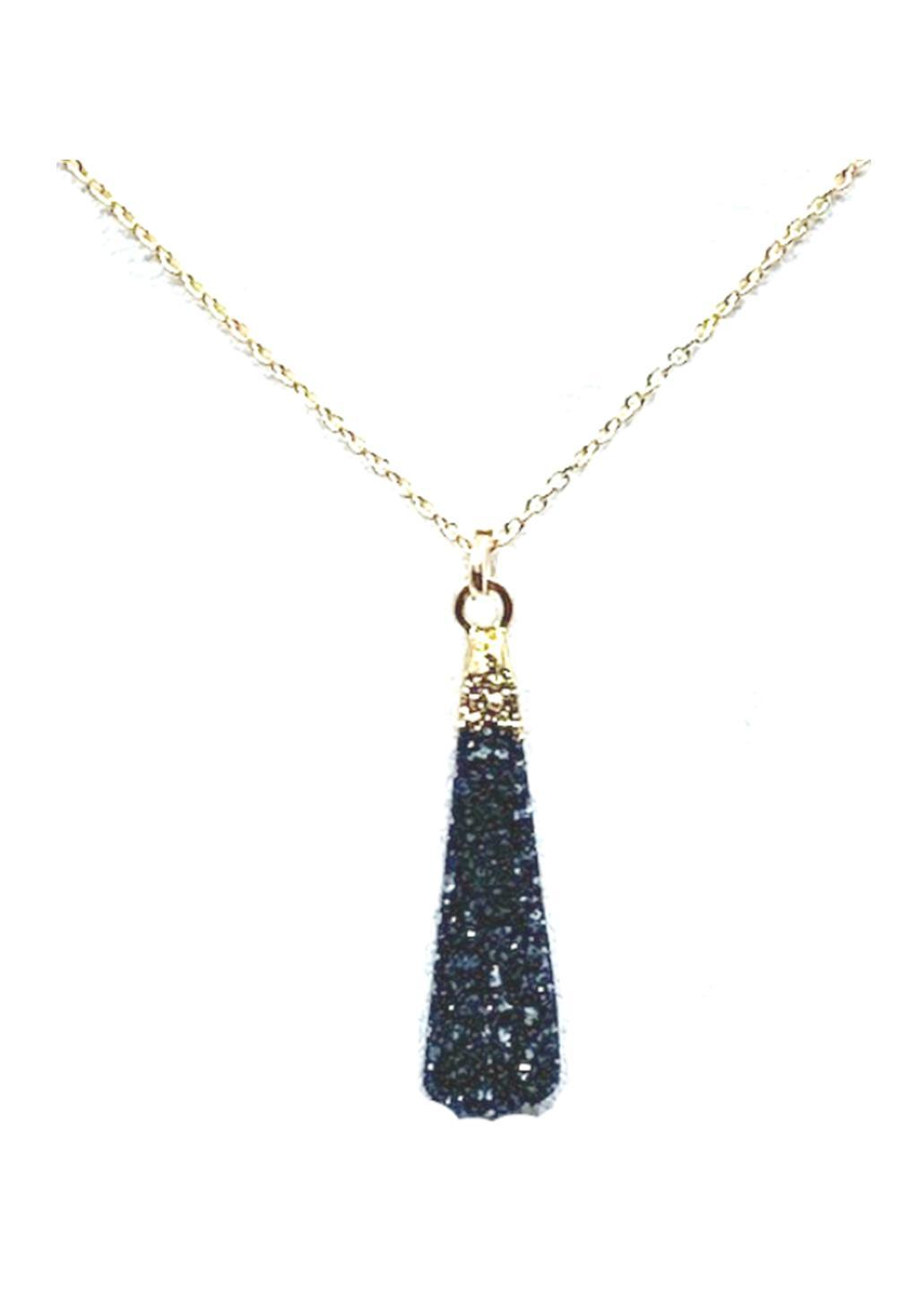 Long Druzy Teardrop Necklace on 14kt Gold Fill Chain: Black Druzy (NGCP794DZX) Necklaces athenadesigns Default Title