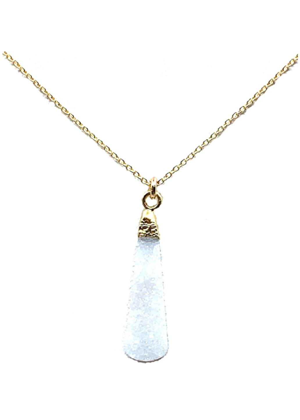 Long Druzy Teardrop Necklace on 14kt Gold Fill Chain: White Druzy (NGCP794DZW) Necklaces athenadesigns Default Title