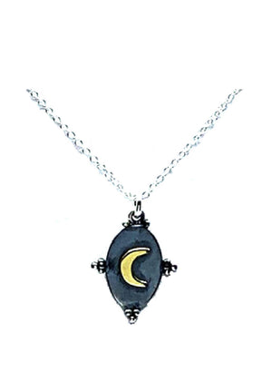 Crescent Moon Mixed Metal Pendant Necklace: Sterling Silver (NCP48MN) Necklaces athenadesigns Default Title