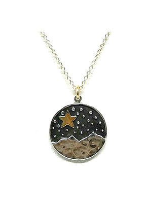 Star & Mountain Pendant Necklace: Gold Fill (NCGP46STR) Necklaces athenadesigns Default Title