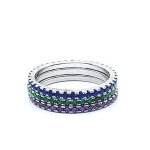 3 Stack Rainbow Sterling Rings: (R3/45RBD) Rings athenadesigns Size 6: R3/45RBD/6