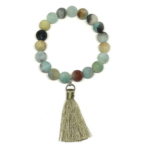 Stone Bracelets with Silk Tassel: Amazonite (BT700AM)