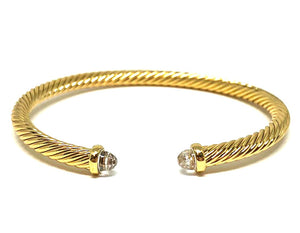 Thin Cable Bracelet with Crystal End Cap: Clear: (BS4070C) Also Gold Fashion Bracelet athenadesigns Gold: BG4070C