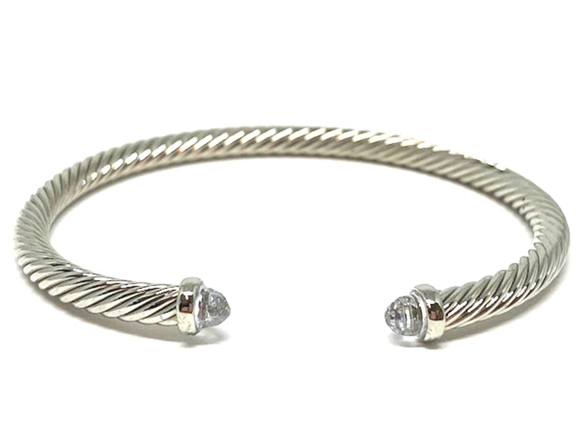 Thin Cable Bracelet with Crystal End Cap: Clear: (BS4070C) Also Gold Fashion Bracelet athenadesigns Silver: BS4070C