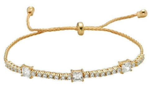Gold Vermeil Wire Pull Bracelet with Round & Square Radiant CZ (BGT4665)