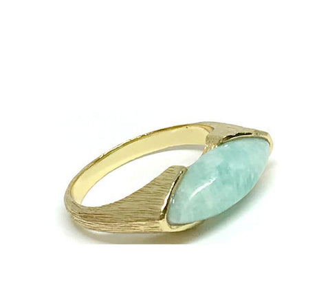 Marquis Shaped Stone Ring: Gold Vermeil Amazonite (RG784AM)