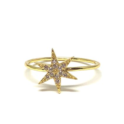 Micropave Star Ring: Gold Vermeil (RG45STR/_) Available in Sizes 6-8 SALE athenadesigns Size 6- RG45STR/6