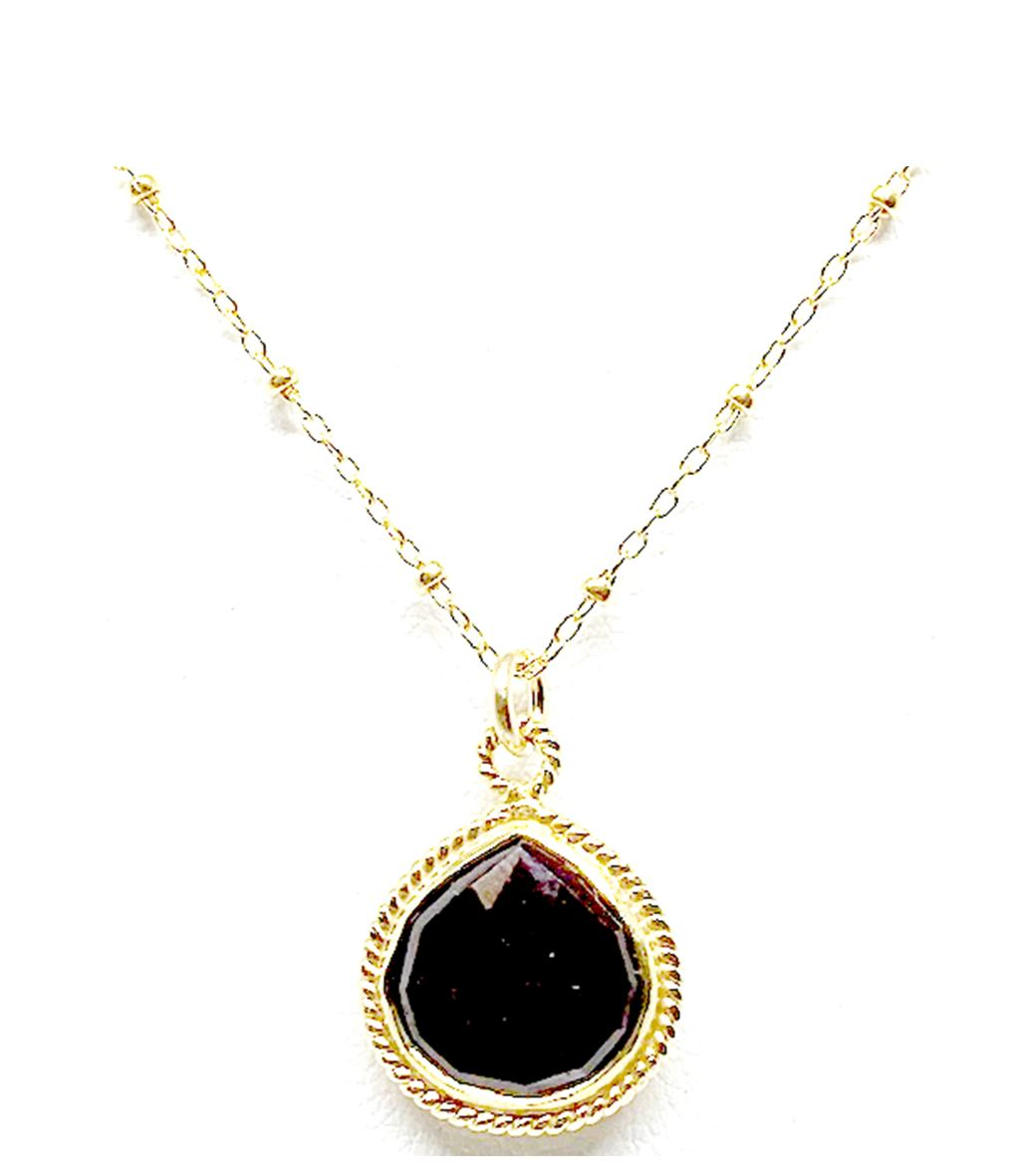 Wire Wrap Bezel Stone Necklace: Garnet: 14k gold fill (NCGP704R) Necklaces athenadesigns Default Title