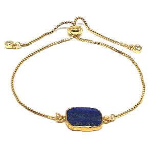Electroform Stone Pull Bracelet: Lapis (PBT748LP) Also on Gunmetal Chain Bracelet athenadesigns Gold