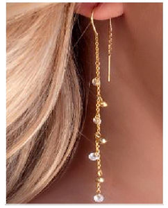 Life Style Gold Fill Crystal and Bead Threader Earring athenadesigns