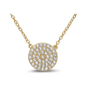 Crystal Pave: Disk Charm In Rose Gold Fill Necklace. Also in Gold Vermeil (NCRG4665) Necklaces athenadesigns Gold Fill-NCG4665
