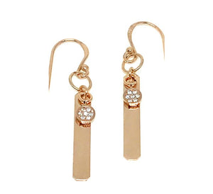 Vertical Bar with Crystal Charm Earrings: Gold Fill (EG4085) SALE athenadesigns Rose Gold - ERG4085