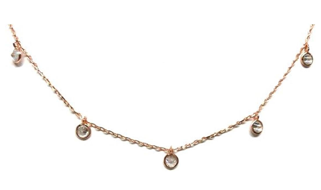 Crystal Chain Choker: Rose Gold Vermeil. Also Gold (NRGCH5460) Necklaces athenadesigns Finish: Rose Gold (NRGCH5460)