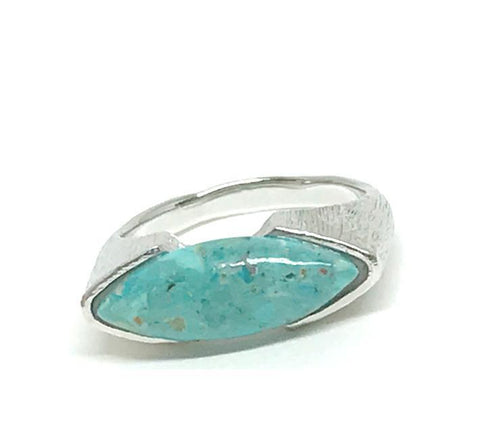 Marquis Shaped Stone Ring: Sterling Silver Turquoise (RS784TQ)