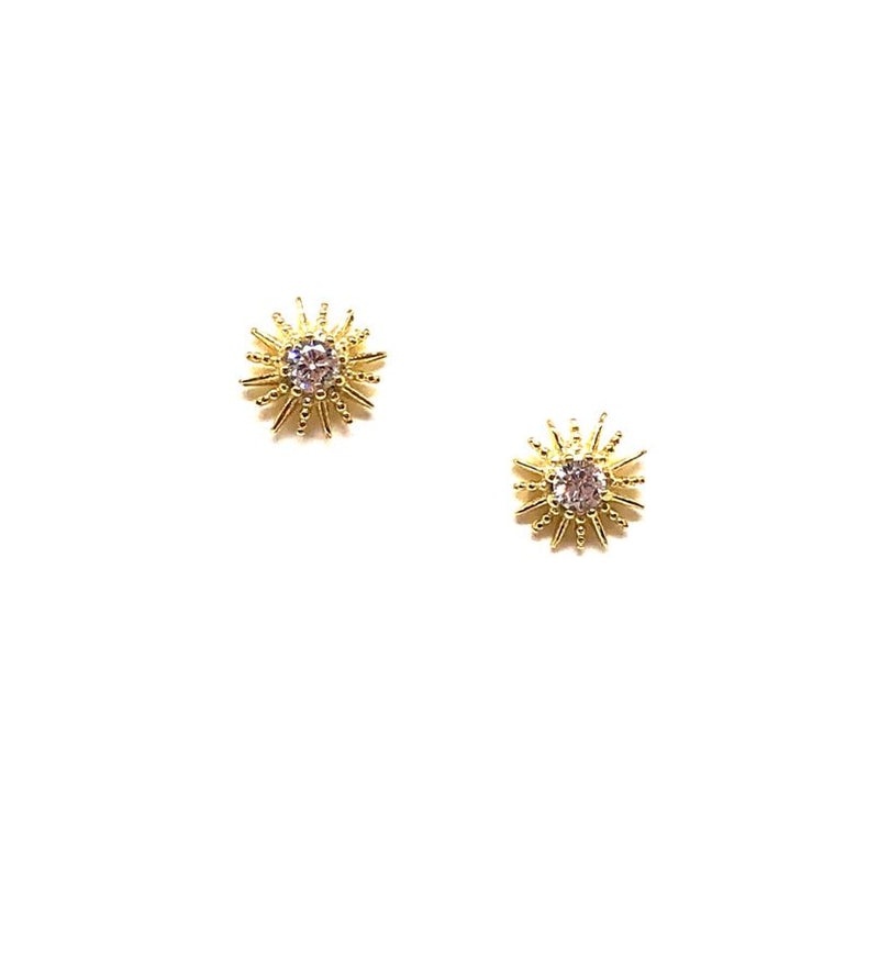 Sun CZ Stud: Gold Vermeil (EGP/5SUN) Also in Rose Gold Earrings athenadesigns Gold - EGP/5SUN
