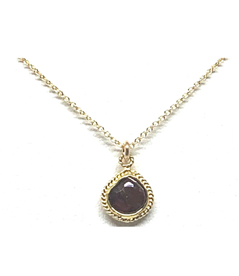 10mm Wire Wrap Bezel Stone Necklace: Garnet (NGCP74R) Necklaces athenadesigns Default Title