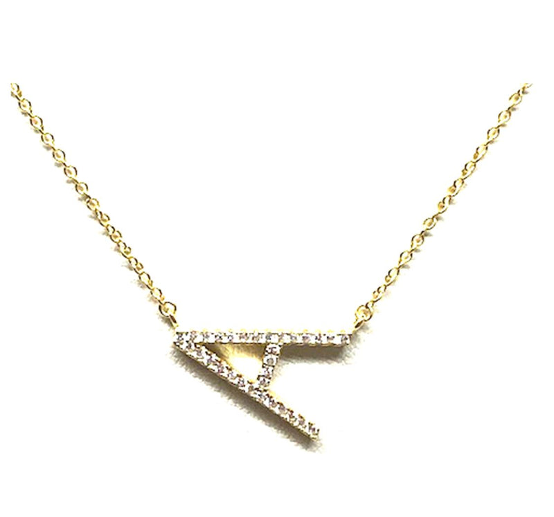 Initial Pave Necklaces: Letters A-I: Sterling Silver & Gold Vermeil (NGCH45A) Necklaces athenadesigns Gold A