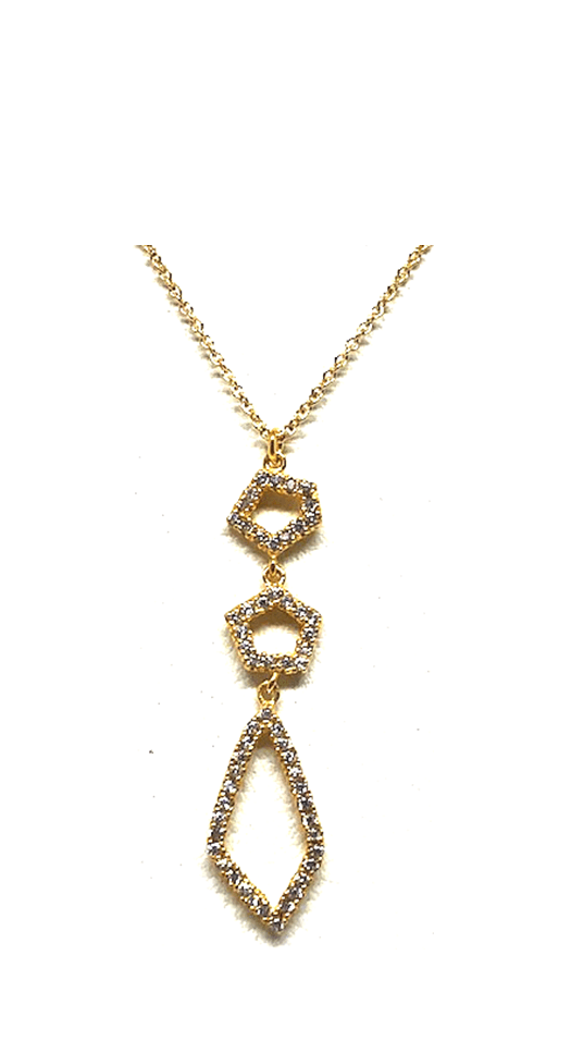 Crystal Drop Necklace: Abstract: Gold Vermeil (NGCP4559) Additional Finishes
