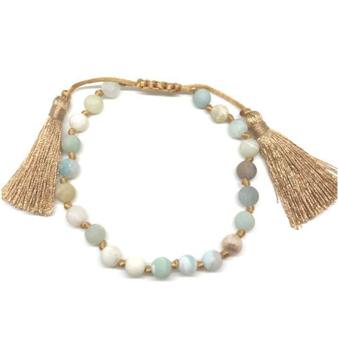 Knotted Bead Bracelets with Tassel: Amazonite (BT760AM)