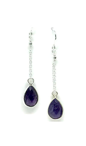 Amethyst Teardrop and Sterling Silver Chain Earring:Also Gold Fill (ECS484Y) SALE athenadesigns Silver - ECS484Y