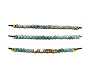 String Pull Bracelet with Semi Precious Stones: Set of 3: Amazonite (BGMT704AZ) Fashion Bracelet athenadesigns Default Title