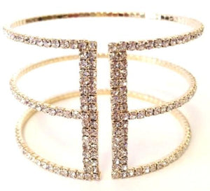 Gold Crystal Cuff Bracelet (BG3/445) Fashion Bracelet athenadesigns Gold