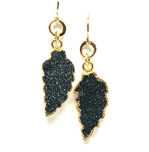 Electroformed Leaf Earrings: Black Druzy (EG79DZX) Earrings athenadesigns Default Title